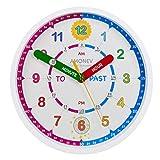 Amonev Horloge murale pour apprendre aux enfants à lire l'heure instantanément (en...