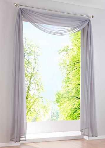 Yaland Voile Transparenter Freihandbogen einfarbig Uni Querbehang Wohnzimmer Gardinenschals (BxH 140x500, Silbergrau) 1 Stück