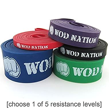 WOD Nation Pull Up Assist Band by Best for Pullup Assistance, Chin Ups, Resistance Exercise, Stretch, Mobility Bench Work & Serious Fitness - SINGLE BAND 41 inch straps | Green 50-125 lbs Strength
