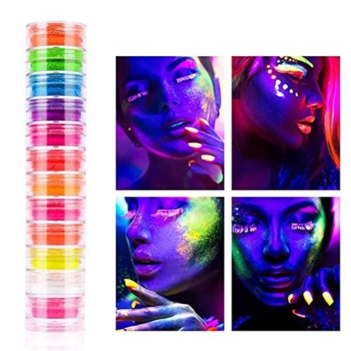 Kylewo 12 Piezas de Polvo Luminoso Polvo de uñas Color Pintura Corporal Brillo de uñas Pigmento de uñas Arte de uñas Polvo de Pigmento Efecto Espejo Polvo para uñas