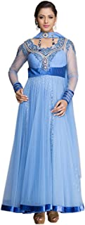 Regalia Women's Net Square Neck Suit (RAW_056_L, Iris Blue, L)