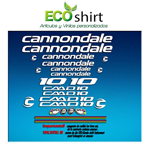 Ecoshirt 4G-3HHM-15HC sticker lijst Cannondale CADD 10 Am28 sticker Decals Sticker Bike BTT MTB Cycle, wit
