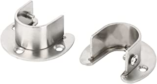 uxcell Stainless Steel Clothes Closet Rod Bracket Flange Lever Support Holder Hanger Pole 1.1 Inch Dia 2pcs
