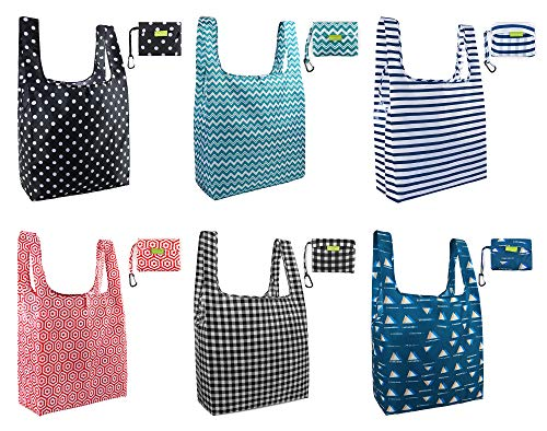 Reusable-Grocery-Bag-Folding Geometric Shopping Totes X Large 50LBS Cute Pattern Foldable Bags with Attached Pouch 6 Pack Bulk Ripstop Waterproof Fabric Machine Washable Heavy Duty Durable