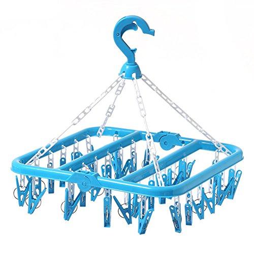 SMARTrich Tendedero plegable de plástico, 32 clips, plástico, azul, 02#