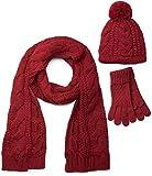 styleBREAKER conjunto de chal, gorro y guantes, chal de punto con motivo trenzado con gorro con pompón y guantes, señora 01018208, color:Burdeos Rojo/bufanda