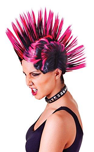 Femmes Perruque Mohican Accessoire pour 80s Punk indian Perruque Déguisement (Femme) Rose/Noir