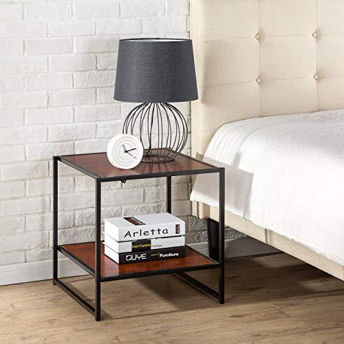ZINUS Dane 51 cm Tavolino con telaio nero |Tavolino da salotto | Facile da assemblare, venatura del legno mogano rosso