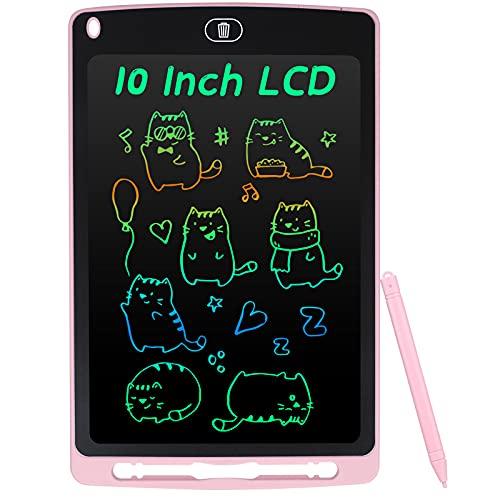 Coolzon Tavoletta Grafica LCD Scrittura Colorato 10 Pollice, Elettronica Lavagna Cancellabile da Disegno con Penna, Portatile Lavagnetta per Bambini Digitale Ewriter con Pulsante Elimina, Rosa