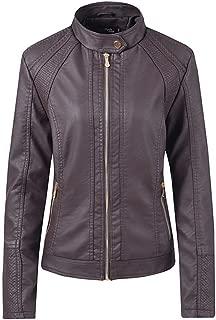 DISSA P1863 Women Faux Leather Bomber Jacket Slim Coat Leather Jacket