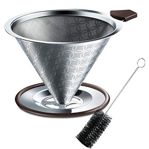 SRIWATANA コーヒードリッパー ステンレスフィルター 2層メッシュ 一体式 洗浄用ブラシ付き 4杯用