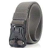 Da.Wa Cinturón táctico de los Hombres Estilo Militar con Nosotros Cinturón de Nylon de Alta Resistencia para el Entrenamiento de Caza (Gris Claro)
