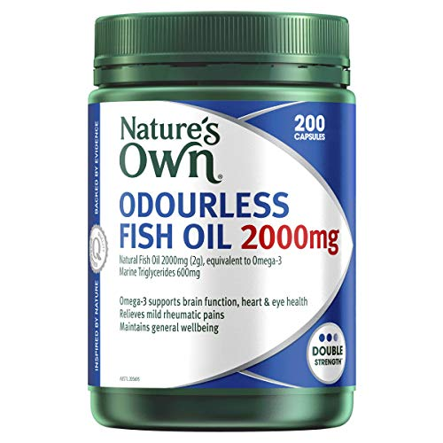 Nature's Own Odourless Fish Oil 2000mg - Source of Omega-3 - Maintains Wellbeing - Supports Healthy Heart and Brain, 200 Capsules, Mostly Green