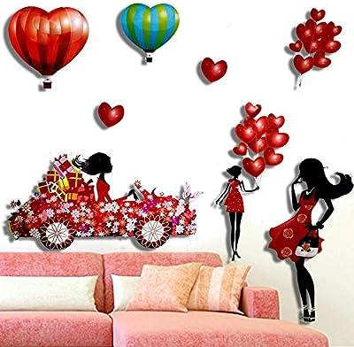 Larbenz.The Digital Era PVC Heart Parachute Wall Sticker (70 cm X 50 0.25 cm, Multicolor)