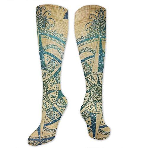 N/A NA Calcetines Casuales para Hombre y Mujer, de Tubo Alto, Mediados de Pantorrilla, para Disfraz de Cosplay, Calcetines para nias, brjula Vintage