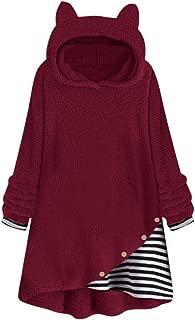 Plus Size Sweater Hoodie for Women,Winter Warm Fleece Striped Prin Cat Ears Button Hem Hoodie Top Sweater Blouse