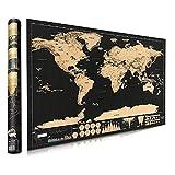 Póster de mapa del mundo para rascar - Mapas de Bluesees Maps International Scratch The World Travel Map-de pared detallada con capitales, estados, ciudades, mapa de arañazos con tubo - 42 * 30 cm