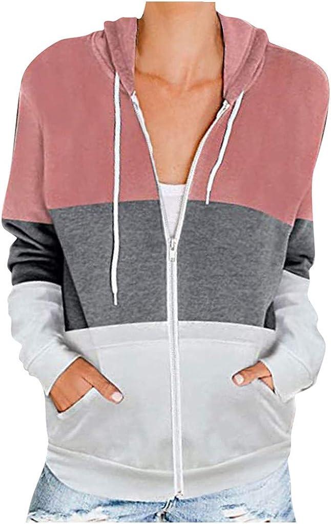 Sweatshirts for Women Lightweight Hoodie Basic Solid Long Sleeve Hooded Sweatshirt Zipper Jacket Coats with Pockets