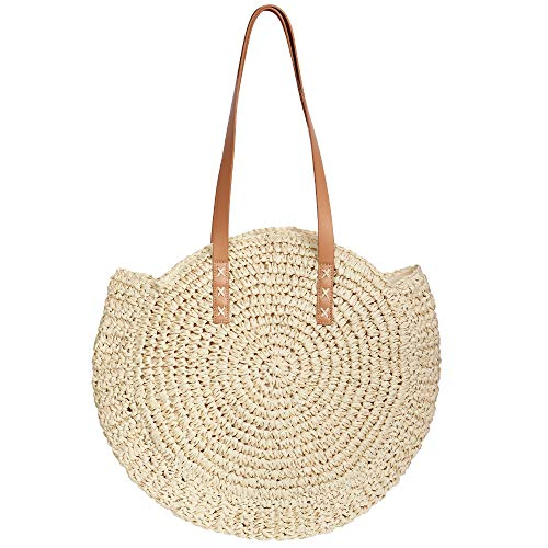 Womens Straw Handbag Handmade Woven Round Shoulder Bag for Summer Beach Large Weaving Tote
