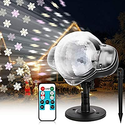 Christmas Snowfall LED Projector Lights, WOSTOO Waterproof Rotating 3D Snow Effect Lamp with RF Remote Projection for Chriatmas, Holiday, Party, Garden, Patio