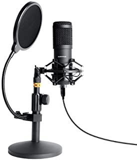 میکروفون PC Streaming USB Podcast ، SUDOTACK Professional 96KHZ / 24Bit Studio Cardioid Condenser Card Kit with Sound Card Desktop Stand Shock Mount Pop Pop Filter، برای ضبط بازی Skype Youtuber