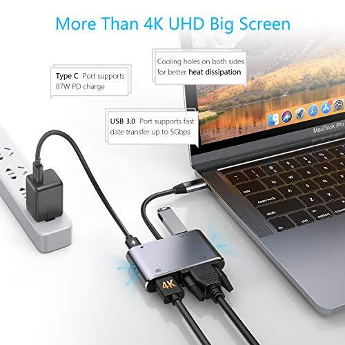 HOTUCG USB C Hub, USB C Adapter mit 4K HDMI, 1080P VGA, USB A 3.0, USB-C 100W PD-Stromversorgung, USB-C VGA HDMI Hub Adapter für MacBook/Windows Laptops und mehr OTG-Funktion Type-C Geräte, Spacegrau