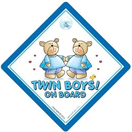 Gift for Twins 2 PACK Blue Comic Twin 1 and 2 Magnets