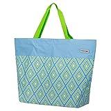 anndora XXL Shopper himmelblau lindgrün Raute - Strandtasche 40 Liter Schultertasche Einkaufstasche