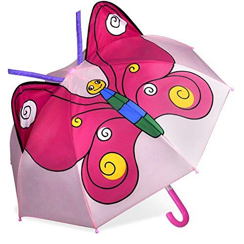 CAPMESSO Kinder Regenschirm Jungen 3D Dome Regenschirme mit Griff Winddichter Stockschirm für Mädchen Jungen Sicherheitsäffnung 3 bis 6 Jahre(Butterfly)