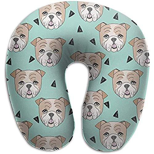 Warm-Breeze Englisch Bulldogge Kopf Komfortables U-förmiges Kissen, Reisekissen Memory Foam Neck Support