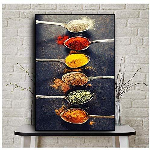 XingChen Leinwand Kunstwerk 40x50cm ohne Rahmen Leinwand Malerei Körner Gewürze Paprika Löffel Poster und Drucke Küche Wandkunst Lebensmittel Bild Wohnzimmer