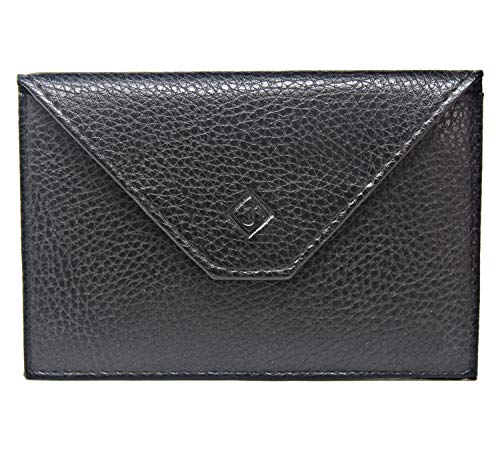 Frederic Johns® - Porta carta in pelle - porta badge - formato busta - scheda di identità, carte, molto completo, Pelle Morbida per uomo o donna (Nero)