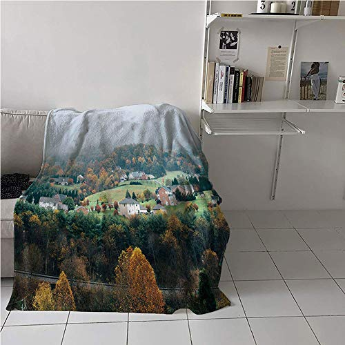 "WodCht Appalachian Trail Blanket Chair,Aerial Photo of Forest Village Houses in Autumn Foggy Panorama Print,Plush Throw Blanket,Microfiber All Season Blanket 70"" x 93"""
