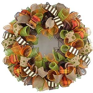 Fall Thanksgiving Deco Mesh Door Wreath; Brown Green Orange Burlap