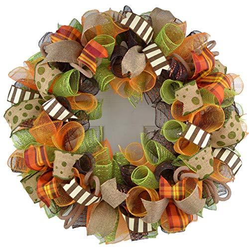Fall Wreaths   Thanksgiving Deco Mesh Front Door Wreath; Brown Green Burlap Orange : F1