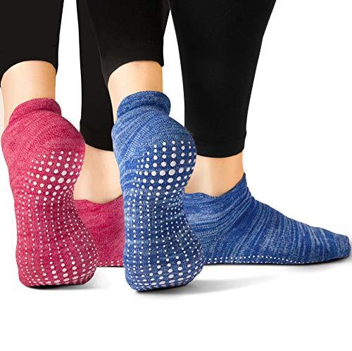 LA Active Grip Socks - 2 Pairs - Yoga Pilates Barre Ballet Non Slip Covered (Slublime Blue and Knit Ruby, Large)