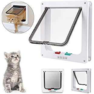 "IREENUO 4-WAY Locking Cat door, Pet Lockable Flap Door for Pet Cats and Small Dogs with Telescopic Frame Installing Easily(Medium7.87"" x 2.16"" x 7.56"", White)"