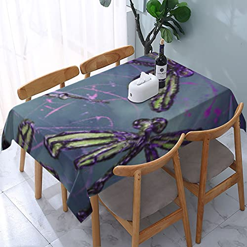 Table Cloth,Dragonfly Purple Night Flit Decorative Tablecloth Rectangle Water Resistant Tablecloth for Kitchen Dinning Party 54x72 inch