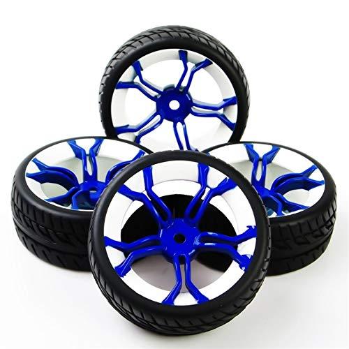 MENGzhuHSA Autoreifenmodell 4Pcs / Set Maßstab 1:10 On Road Racing Gummi Reifen und Felge passen HSP HPI RC Rally Racing Auto-Modell Zubehör und Ersatzteile für Kinder DIY Craft (Color : As Show)