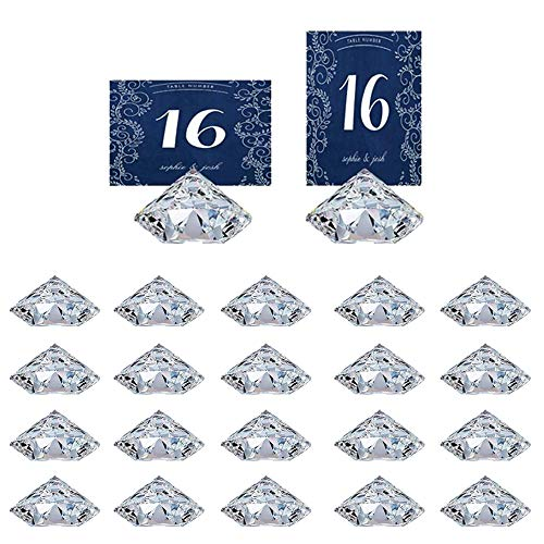 HOHIYA Soporte para tarjetas de mesa, para fiestas, bodas (transparente, 20 unidades)