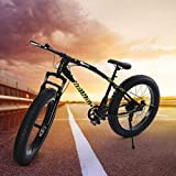 Fat Tire Bike, 26in Mountain Bike for Mens, 21 Speed Fat Bike with High Carbon Steel, for Snow, Sand, and Beach (Black, Fat Tier)