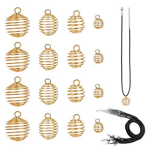 PandaHall 40 colgantes de jaula de alambre de hierro de oro de 4 tamaños, con 24 cuerdas de cuero para collares, pendientes, joyería, manualidades, 9 mm/15 mm/25 mm/30 mm
