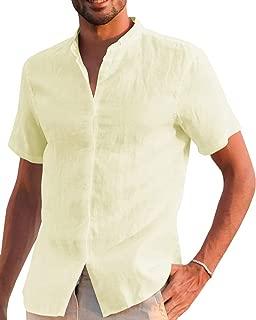 Makkrom Mens Button Down Long Sleeve Shirts Cotton Linen Loose Summer Beach Casual T Shirt Tops