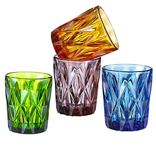 SIMPLEWORD Old Fashioned Drinking Glasses(Set of 4),Colored Cocktail Glasses,Colored Drinking Glasses for Water,Juice,Wine,Beverage,Whisky