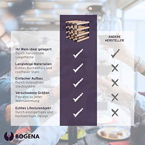 BOGENA® aus Holz - im einzigartigen Design - in 3 Varianten erhältlich - stabil, langlebig & modern - Elegantes Flaschenregal für Ihre heimische Weinsammlung (12 Flaschen) - 5
