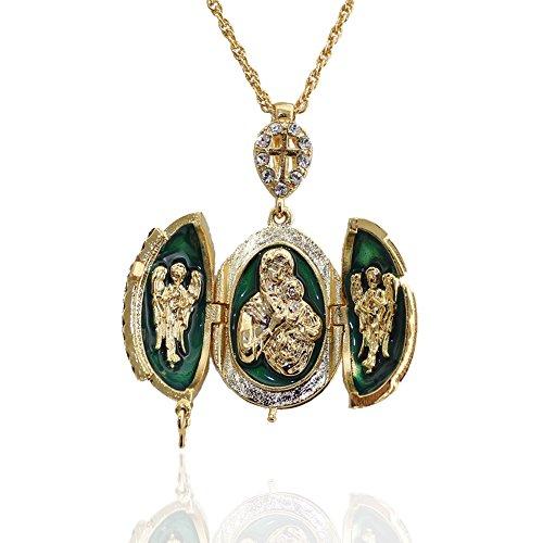 Pendentif Orthodoxe Oeuf Style Fabergé Vert Ouvrant Croix et 3 Parties Contenant en Son Centre la Vierge et l'enfant entourée de 2 Anges OE16