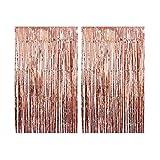 CozofLuv 2 Confezioni da 1 x 3 M di Pennello Metallico, per Tende, finestre, finestre, Decorazione per Compleanno, Matrimonio Azzurro (Oro Rosa)