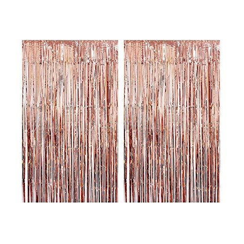 CozofLuv 2 Packung 1 x 3 M Metallic Tinsel Vorhänge, Folie Fringe Schimmer Vorhang Tür Fenster Dekoration für Geburtstag Hochzeit (Rosa Gold)