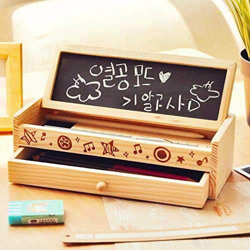 SENRISE DIY Retro potlooddoos, houten kwaliteit 1 Stks dubbele ladekast met klein Blackboard voor studenten meisjes school jongens