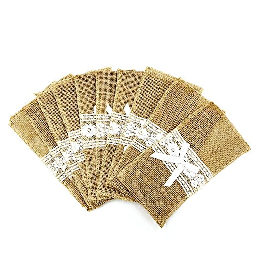 Burcan 20 Pcs Classic Burlap Lace Silverware Napkin Holders for Country Wedding Baby Shower Table Decorations,4.3 in by 8.6 in